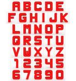 Letters en getallen 3d kubiek rond gemaakt die rood op wit wordt geïsoleerd Vector Illustratie