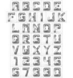 Letters en getallen 3d kubiek rond gemaakt die zilver op wit wordt geïsoleerd Stock Illustratie