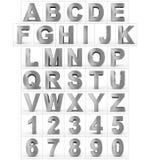 Letters en getallen 3d metaal dat op wit wordt geïsoleerd Stock Fotografie