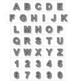 Letters en getallen 3D middelgrote grijs geïsoleerd op wit met schaduw Vector Illustratie