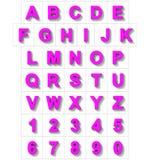 Letters en getallen 3D purple op wit met schaduw wordt geïsoleerd die - of Stock Illustratie