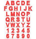 Letters en getallen 3d rood op wit Royalty-vrije Stock Fotografie