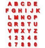 Letters en getallen 3D rood op wit met schaduw wordt geïsoleerd - orthodie Royalty-vrije Illustratie