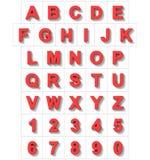 Letters en getallen 3D rood op wit met schaduw wordt geïsoleerd - orthodie Stock Foto