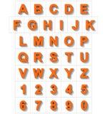 Letters en getallen 3D sinaasappel op wit met schaduw wordt geïsoleerd die - of Royalty-vrije Illustratie
