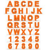 Letters en getallen 3d sinaasappel op wit wordt geïsoleerd dat Stock Illustratie