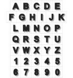 Letters en getallen 3D wit op wit met schaduw wordt geïsoleerd die - ort Royalty-vrije Illustratie