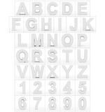 Letters en getallen 3d wit op wit wordt geïsoleerd dat Stock Afbeelding