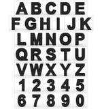 Letters en getallen 3d zwarte op wit wordt geïsoleerd dat Stock Illustratie