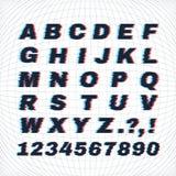 Letters en getallen met vervormingseffect Royalty-vrije Stock Foto's