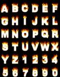 Letters en getallen met vlameffect Stock Foto's
