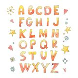 The letters of the English alphabet with a naive style. Isolated on white background. Watercolor illustration Royalty Free Illustration
