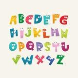 Cartoon kid colorful alphabet vector illustration