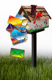 Letters falling out of mailbox Stock Image