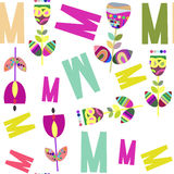 Letters and flowers seamless pattern. It is located in swatch me. Nu, vector illustration design Stock Photography