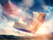 Free Letters Flowing From An Open Flying Book. Imagination Royalty Free Stock Image - 158794276