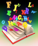 Letters flying out of an open book. 3d render Royalty Free Stock Photo