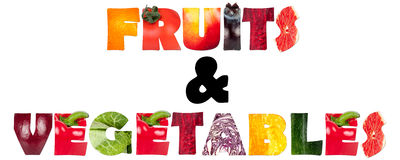 Letters. Fruits and vegetables letters on white Royalty Free Stock Images