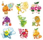 Letters Funny Fruits. Fruit alphabet for kids Royalty Free Stock Images