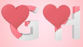 Font Heart G and H. Letters G and H capitalization color pink inside the white broken Letters with a big red heart stock illustration