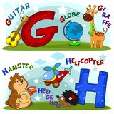 The letters g and h. English alphabet with letters g and h and pictures to them stock illustration