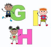 Letters G H and I. Alphabet letters G H and I in green pink and yellow colors Stock Photos