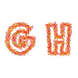 The letters G, H made of autumn leaves Stock Images