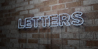 LETTERS - Glowing Neon Sign on stonework wall - 3D rendered royalty free stock illustration Royalty Free Stock Photography