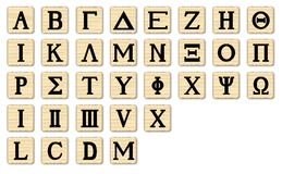 Wooden Alphabet Letters. The letters of the Greek alphabet with numbers on wooden squares Vector Illustration