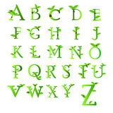 Letters of green Collection. Letters of green leaves and water drops, original design font collection Stock Photo