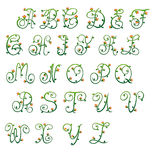 Letters green and red buds Royalty Free Stock Photos