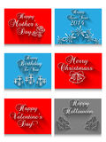 Letters by hand calligrappy various festivals. For web Royalty Free Stock Image