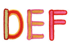 Letters handmade knitted Royalty Free Stock Images