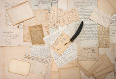 Letters, handwritings, vintage postcards and feather pen Stock Photos