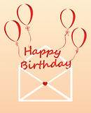 Letters of happy birthday on the balls fly out of the envelope. Letters of happy birthday on the balls in the form of a heart fly out of the envelope. Greeting royalty free illustration