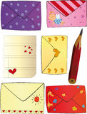 Letters Happy Valentine's day. Set of letters in colour envelopes Royalty Free Stock Photos