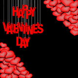 Letters happy Valentine`s day hanging on a ropes and hearts. Red inscription happy Valentine`s day hanging on a ropes on a black background. Background of the vector illustration