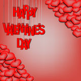 Letters happy Valentine`s day hanging on a ropes and hearts Stock Photography