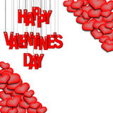 Letters happy Valentine`s day hanging on a ropes and hearts Royalty Free Stock Images
