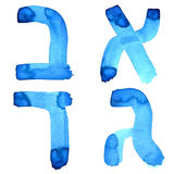 Letters of hebrew alphabet. Blue watercolor letters of hebrew alphabet stock illustration
