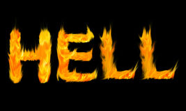 Letters Hell Fire. Can be applied to a sentence Stock Images