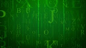 Letters in Holographic Cyberspace. A volumetric 3d illustration of flying letters of Latin alphabet placed in the green cyberspace. They are of different sizes Stock Photography