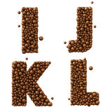 Letters I J K L isolated on white, made of chocolate bubbles, milk chocolate concept, 3d illustration Stock Image