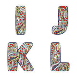 Letters I, J, K, L.  Set colorful alphabet of doodles patterns. Stock Image