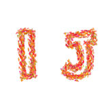 The letters I, J made of autumn leaves Royalty Free Stock Images