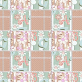 Letters illustration seamless pattern patchwork Stock Photography