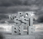 Letters impossible concept. Businessman pulling letters impossible concept on bad weather background royalty free stock photos