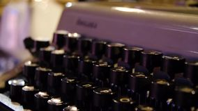 Letters on the keys of an old typewriter. Old typewriter in antique photography vintage simulated. Close up photo of. Antique typewriter keys stock video footage