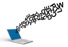 Letters from laptop Royalty Free Stock Images