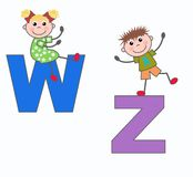 Letters letters W and Z. Alphabet letters W and z in blue and lilac colors Stock Photography